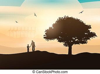 Vater und Sohn wandern auf dem Land.