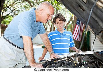 vater, unterricht, reparatur, sohn, auto