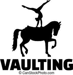 vaulting- pferd, silhouette, wort