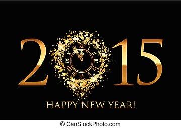 Vector 2015 glücklichen neuen Jahr Hintergrund mit gold glänzender Uhr.