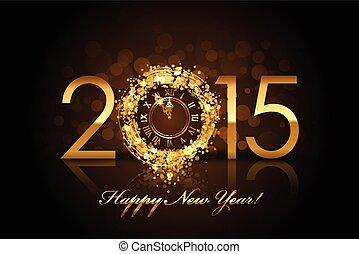 Vector 2015 glücklichen neuen Jahr Hintergrund mit Golduhr.