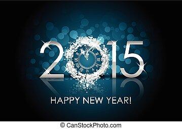 Vector 2015 glücklichen neuen Jahr Hintergrund mit Silberuhr.