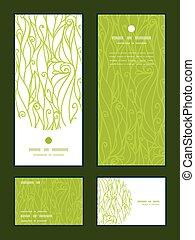 Vector abstrakt swirls Textur vertikale Rahmenmuster Einladung Gruß, RSVP und danke Ihnen Karten gesetzt.