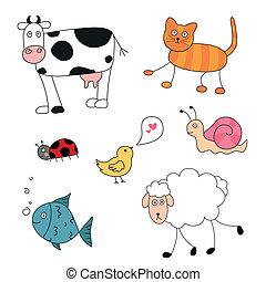 Vector abstrakte Cartoon-Tiere