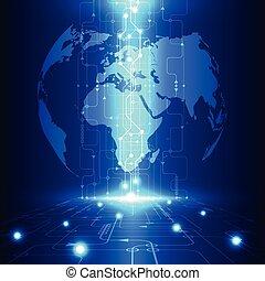 Vector abstrakte globale Zukunftstechnologie, Elektro-Telecom Hintergrund.