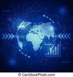 Vector abstrakte globale Zukunftstechnologie, Elektro-Telecoms Hintergrund.