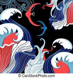 Vector abstrakter Meereshintergrund mit Wellen a.