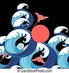 Vector abstrakter Meereshintergrund mit Wellen und Strahlen.