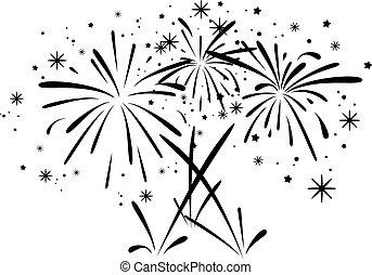 Vector abstraktes schwarzes und weißes Feuerwerk.