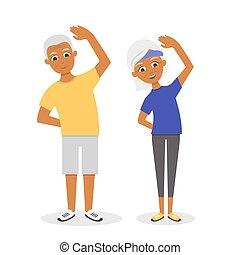 Vector aktiv, glücklich und gesund afro american Senior Paar: Cartoon-Mann und Frau, die Übungen, isoliert auf weißem Hintergrund. Flat Vektorstil.