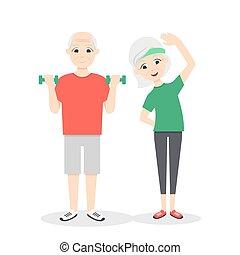 Vector aktiv, glücklich und gesund Senior Paar: Cartoon Man mit grünen Dumbells und Frauen, die Übungen, isoliert auf weißem Hintergrund. Flat Vektorstil.