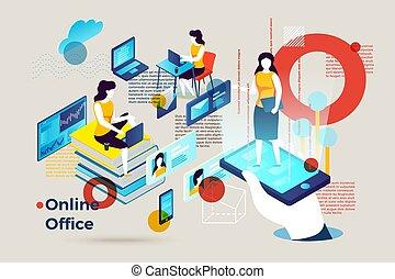 Vector Alphabet Buchstabe O mit Online-Büro