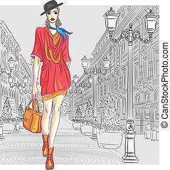 Vector attraktives Modemädchen geht nach St. Petersburg