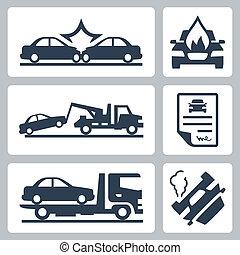 Vector-Ausfall-Truck und Autounfall-Ikonen eingestellt.