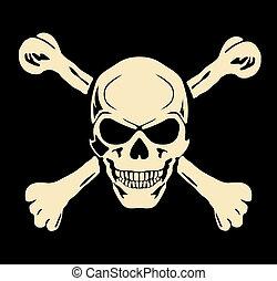 Vector. Böser Schädel mit Knochen. Warnzeichen