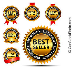 Vector best seller gold sign, label template.