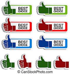 Vector beste Wahlaufkleber mit Geste Hand