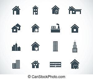 Vector Black Building Icons gesetzt.