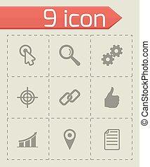 Vector Black Seo Icons gesetzt.