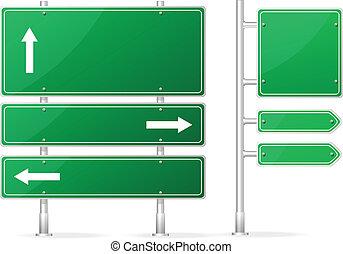 Vector Blank Green Road Schild.