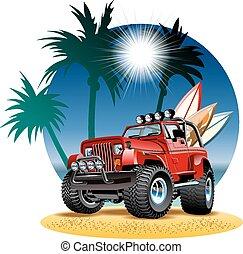 Vector Cartoon 4x4 Auto am Strand