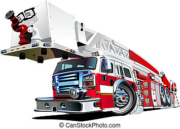 Vector Cartoon Feuerwehrwagen