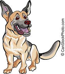 Vector Cartoon-Hund, deutscher Schäferhund