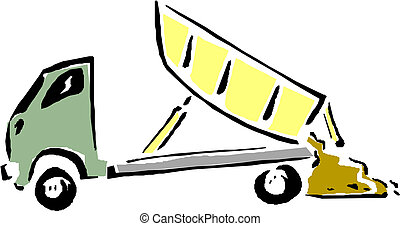 Vector Cartoon Müllwagen.