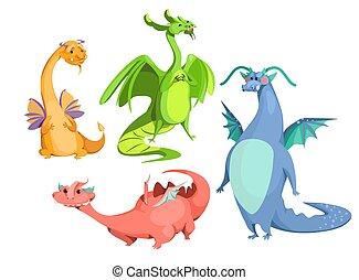 Vector Cartoon niedliche magische, bunte Drachen gesetzt
