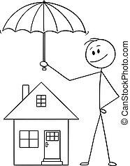 Vector Cartoon von Mann, Geschäftsmann oder Versicherungsvertreter mit Schirm Schutz Familie Haus