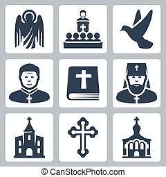 Vector Christian Religion Ikonen gesetzt.