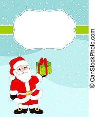 Vector Christmasmas und neue Jahrkarte Vorlage mit Weihnachtsmann im Schnee Hintergrund. Vector Weihnachtskarte.