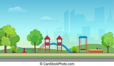 Vector City Public Park mit Kinderspielplatz auf dem modernen Stadthochfall Hintergrund. Green Park im Stadtzentrum.