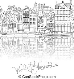 Vector City View of Amsterdam canal.