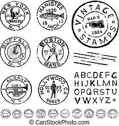 Vector Clipart Vintagestempel und Label Set