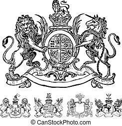 Vector Clipart von siegreichen Löwenwappen