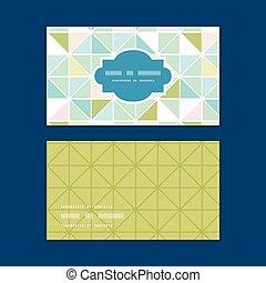 Vector colorful pastell-Dreieck Textur horizontal Rahmen Muster Visitenkarten gesetzt.