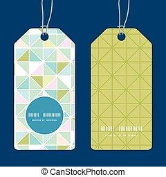 Vector colorful pastell-dreieck Textur vertikale runde Rahmenmuster Tags gesetzt.