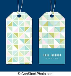 Vector colorful Pastell-Dreieck Textur vertikale Streifen Rahmenmuster Tags gesetzt.