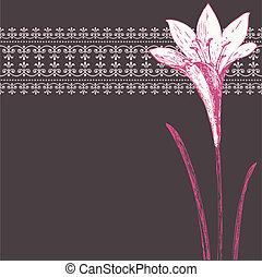 Vector Dark Rosa Iris-Bild und Zierdemuster