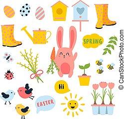 Vector Easter Spring Set. Bunny, Eier, Sonne, Tulpe