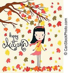 Vector ein Mädchen steht unter trockenen Blätter fallen Baum in der Herbstsaison, Wind weh mit Hallo Herbst Wort.