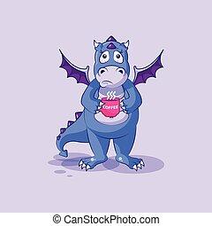 Vector Emoji Charakter Cartoon-Drachen-Dinosaurier nervös mit Tasse Kaffeeaufkleber Emoticon.