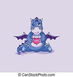 Vector Emoji Charakter-Zeichentrick-Drachen Dinosaurier gerade aufgewacht mit Tasse Kaffee-Aufkleber Emoticon.