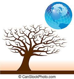 Vector Erde und Baumhintergrund
