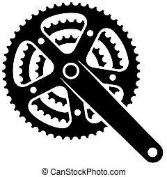 Vector Fahrrad-Zahnrad-Procket Kurbelset Symbol.