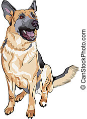Vector-Farbe-Sketch-Dog, deutscher Schäferhund