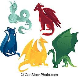 Vector farbige Drachen gesetzt