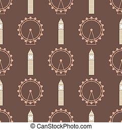 Vector ferris Rad aus Vergnügungsparks nahtlose Muster Kreis Spaß großes Ben Illustration