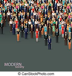 Vector flache Illustration von Wirtschaft oder Politik Gemeinschaft. Crow
